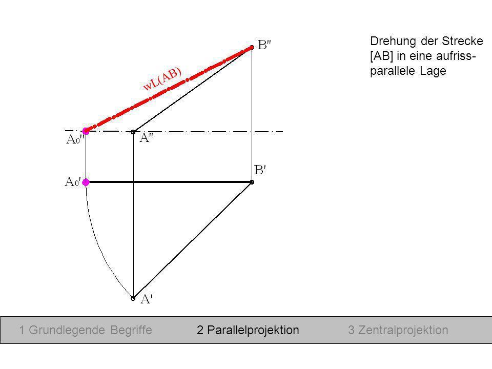 Drehung der Strecke [AB] in eine aufriss- parallele Lage. wL(AB) 1 Grundlegende Begriffe. 2 Parallelprojektion.